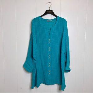 Soft Surroundings Turquoise Linen Button Down, L